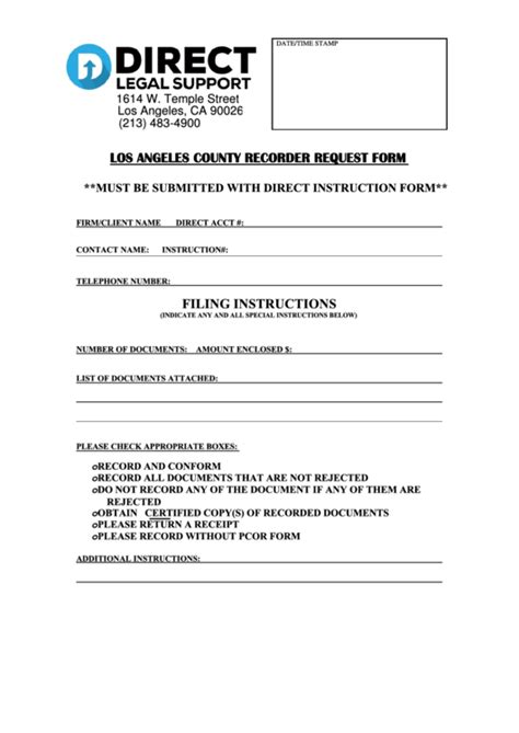 Fillable Los Angeles County Recorder Request Form