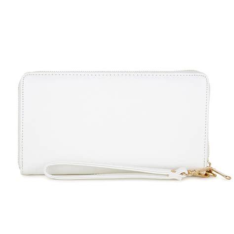 white faux leather le chic white faux leather wallet wallets wristlets