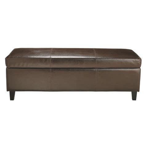 bout de lit imitation cuir marron l 127 cm sellier