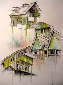 Online Interior Design Courses Architectural Render Hand Drawn House With Watercolor