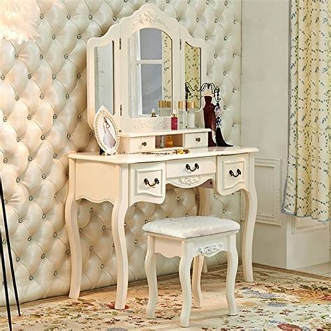 dressing table  mirror makeup table french wooden dresser  drawers antique vanity set wood