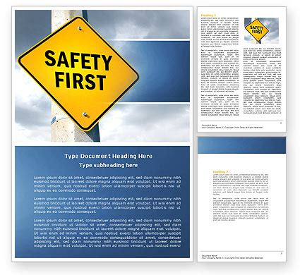 Safety First Sale Poster Template In Microsoft Word Publisher And Adobe Illustrator Formats Safety Brochure Template Free