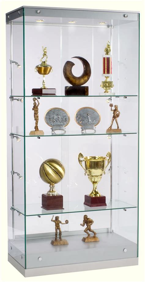 trophy display cabinets with glass doors award display case framless glass design silver finish