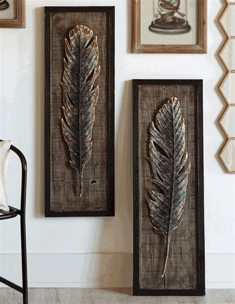 framed feather wall set of 2 overstock