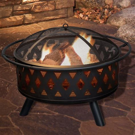 Pure Garden Crossweave Steel Wood Burning Fire Pit Wood Firepits