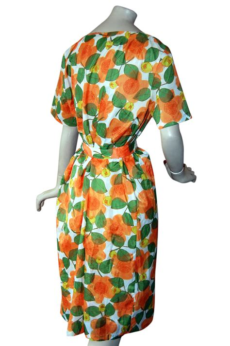 vintage 1950s stylish print orange flower crepe de retruly