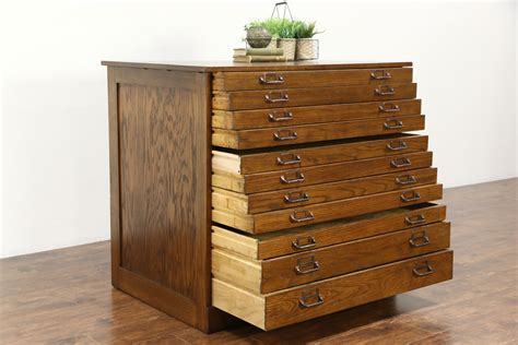map drawer cabinet sold oak 11 drawer 1900 antique map chest drawing file