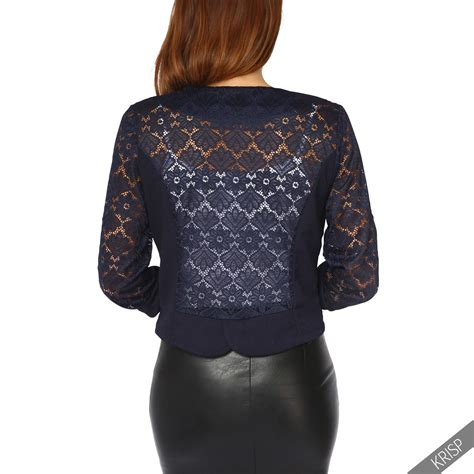 Blouse Bolero 2 In 1 4 lace back 3 4 sleeve cropped shrug top