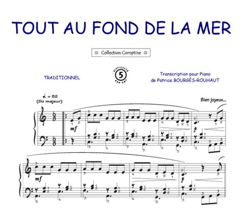 tout au fond tout au fond de la mer comptine piano voix accords tablatures guitare tout instrument