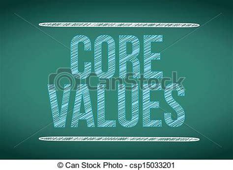 core values message written   chalkboard illustration design