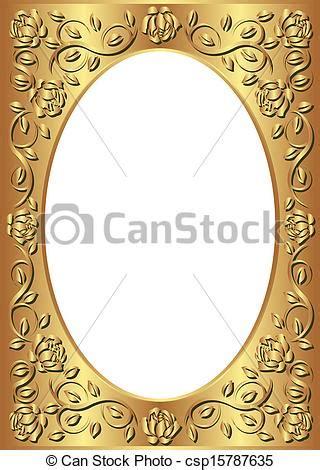 Square Marco Oval vectores de dorado marco floral frontera transparente