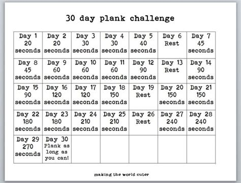 30 day plank challenge printable calendar search results for 30 day plank challenge chart