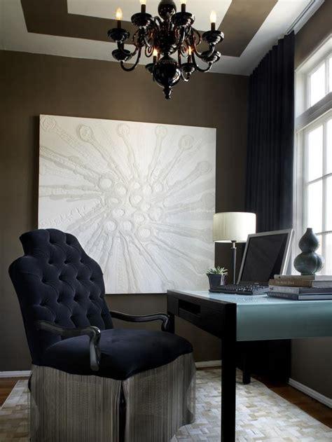 home office with chandelier and painted ceiling