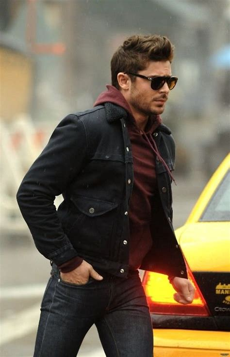 burgundy hoodie and black denim jacket and charcoal jeans