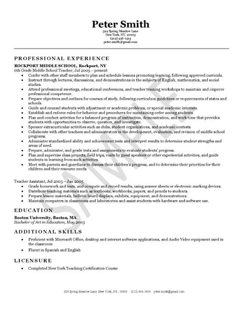 middle school resume template sle resume june 2015
