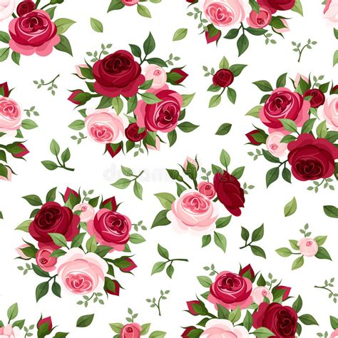 pink rose pattern clipart seamless pattern with red and pink roses stock vector