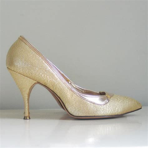 vintage high heels shoes vintage 1960s shiny gold lame stiletto high heels shoes