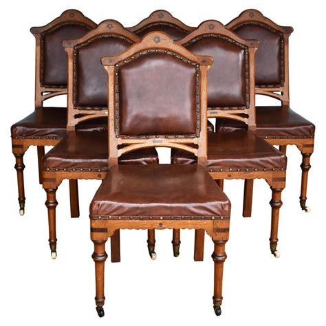 set    century english victorian oak dining chairs