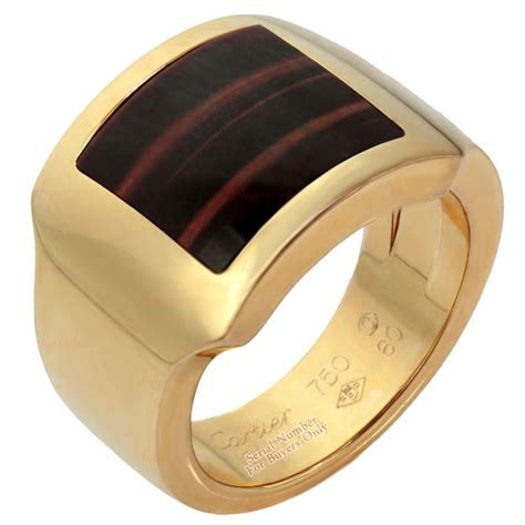 CARTIER Tiger's Eye Men's Rose Gold Ring   Men Jewelry