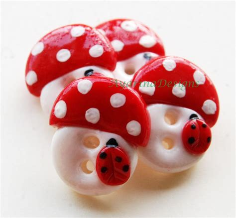 Handcrafted Buttons - mushrooms set of 4 polymer clay handmade buttons on luulla
