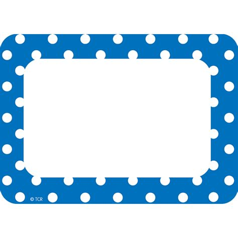 printable decorative name tags blue polka dots name tags labels tcr5585 teacher