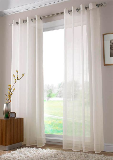 sheer curtains white plain ring top voile ivory free uk delivery terrys fabrics