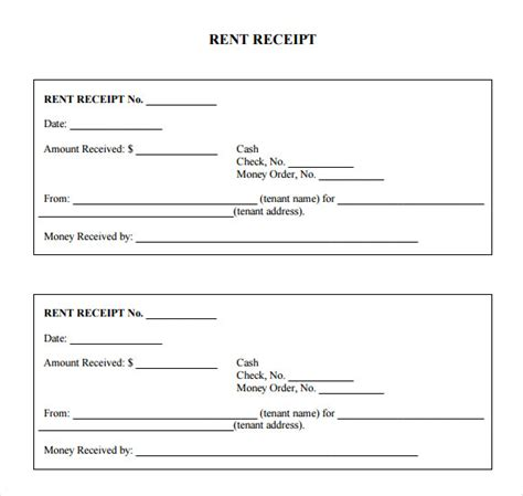 free printable rent receipt template sle rent receipt forms