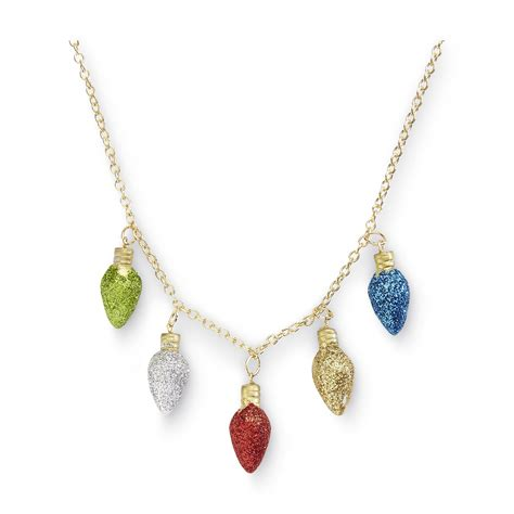 holiday editions women s christmas lights necklace