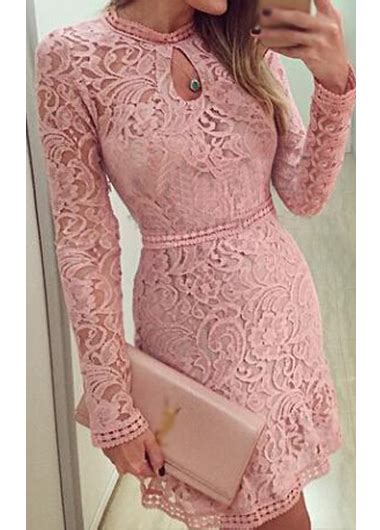Minidress Owl Renda 2 keyhole neckline lace mini dress pink on luulla