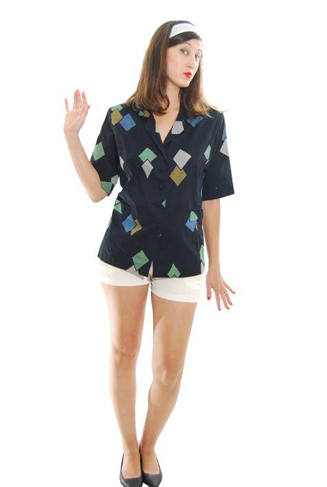 mix color geometric vintage blouse for 1960s