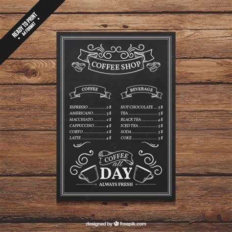 free coffee shop menu template coffee shop menu vector free