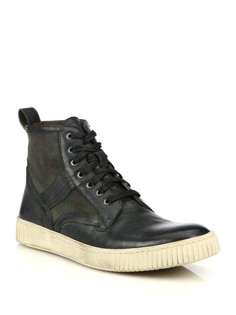 canvas boots lyst varvatos bedford trooper leather coated
