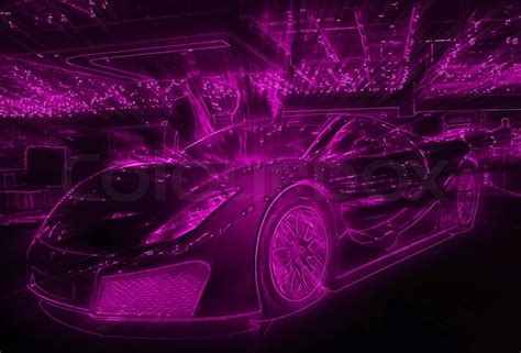 pink neon light drawing of the sport car stock photo