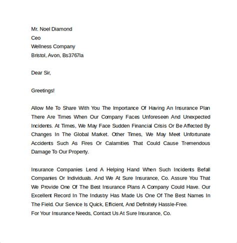 Insurance Company Cover Letter by Marketing Cover Letter Exles 10 Free Documents In Pdf Word