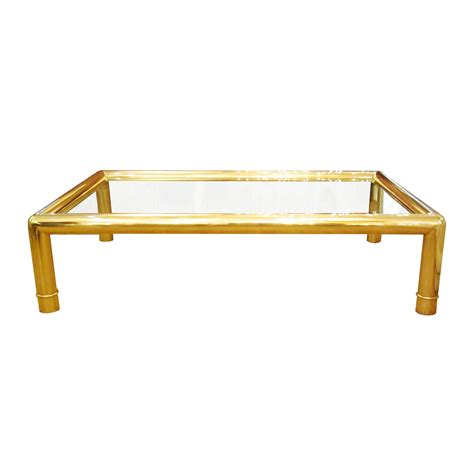 Brass Glass Coffee Table Rectangular Coffee Table With Tubular Brass Frame And Glass Top Coffee Tables Salibello