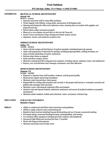 resume template receptionist receptionist resume exles resume template easy http