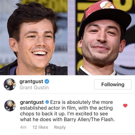 Miller For Acting Or Personal by Grant Gustin Comments On Ezra Miller S Flash