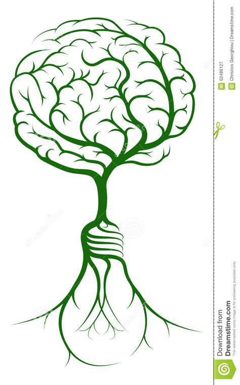 brain tree light up brain branches light bulb roots stock vector image 62486127