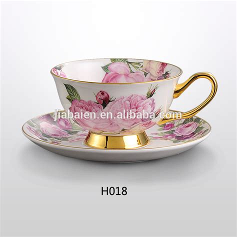 Cup And Saucer 225ml h018 bone china flower tea cup and saucer witn gold