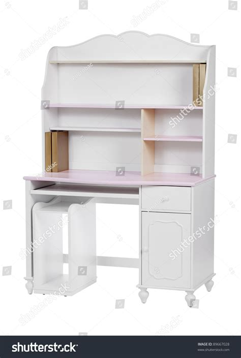 wooden workstation desk bookcase white stock photo