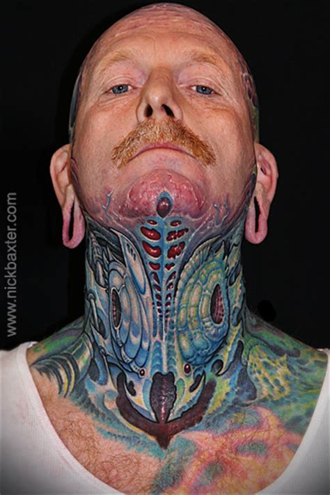 biomechanical tattoo neck biomechanical neck tattoo by nick baxter
