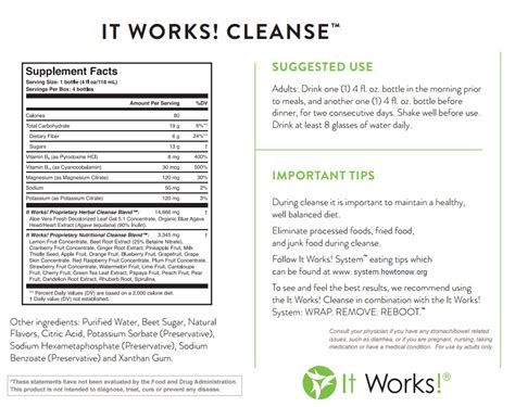 Detox Shoo Ingredients by It Works Cleanse Ingredients Works Global