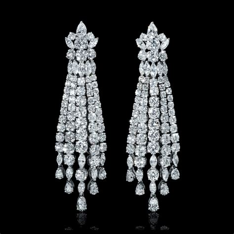kronleuchter diamant 18 75ct 18k white gold chandelier earrings