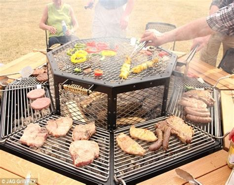 fire pit table octagon picnic table  grill amish