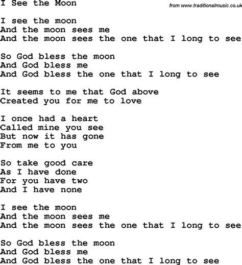 moon lyrics christian childrens song i see the moon lyrics