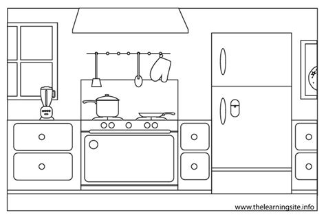 coloring page of a kitchen kitchen room buildings and architecture printable