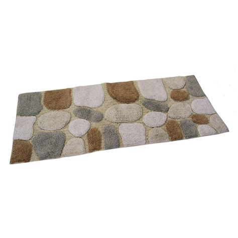 24 X 60 Bath Rug Chesapeake Merchandising 24 In X 60 In Pebbles Bath Rug Runner In Spa 45091 The Home Depot