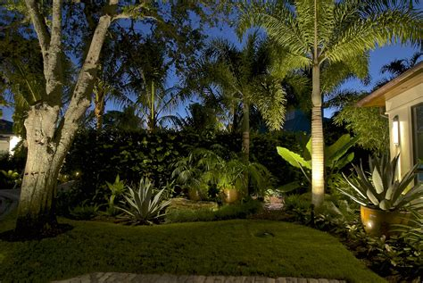 Tropical Outdoor Lighting Award Winning Pelican Bay Landscape Lighting Design Accentuates The Rustic Contemporary Charm