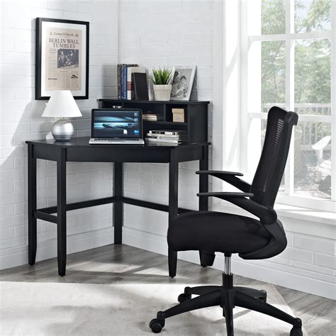 black writing desk with hutch corner laptop writing desk with optional hutch black