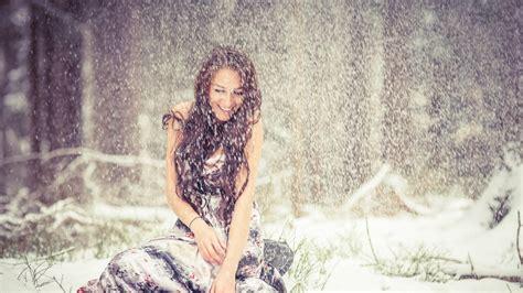 wallpaper girl full hd full hd wallpaper girl dress smile snow winter desktop